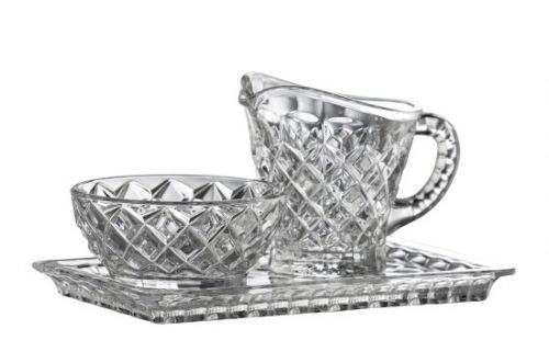 Galway Crystal Ashford Cream, Sugar and Tray